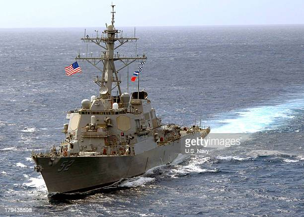 In this handout released by the US Navy the guidedmissile destroyer USS Barry is seen April 7 2008 in the Atlantic Ocean In a response to a alleged...