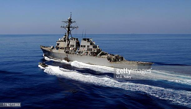 In this handout released by the US Navy the US Navy guidedmissile destroyer USS Barry is underway in Mediterranean Sea on May 14 2011 at sea In a...