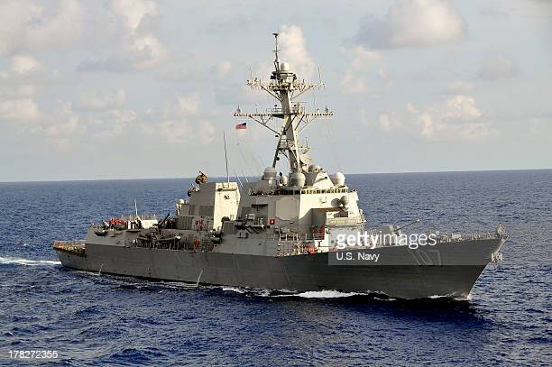 In this handout released by the US Navy the US Navy guidedmissile destroyer USS Gravely is underway during the multinational UNITAS Atlantic 532012...