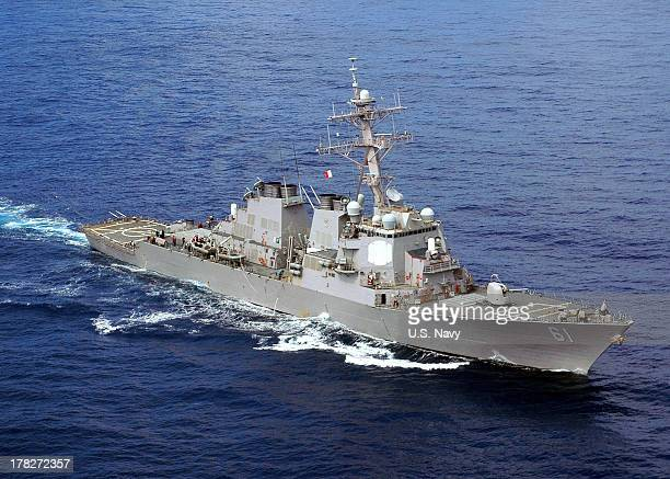 In this handout released by the US Navy the US Navy guidedmissile destroyer USS Ramage is underway in the Atlantic Ocean September 4 2008 at sea In a...