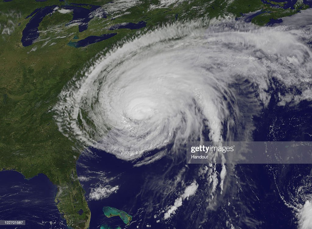In this handout satellite image provided by NASA, Hurricane Irene is seen at 10:10 a.m., about two hours after it made landfall in Cape Lookout, North Carolina, August 27, 2011 in the Atlantic Ocean. Hurricane Irene hit Dare County, which sits along the Outer Banks and includes the vacation towns of Nags Head, Kitty Hawk and Kill Devil Hills, as a Category 1 hurricane around mid-day.