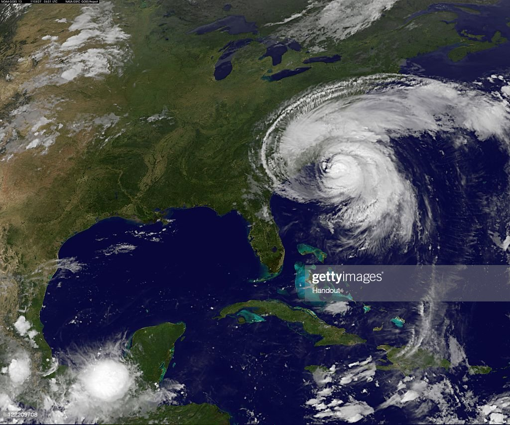 In this handout satellite image provided by NASA, Hurricane Irene churns of the east coast of the United States, August 27, 201, in the Atlantic Ocean. Irene, now a Category 2 storm, has started to lash the eastern coast of the U.S. with wind gust up to 125 miles per hour.