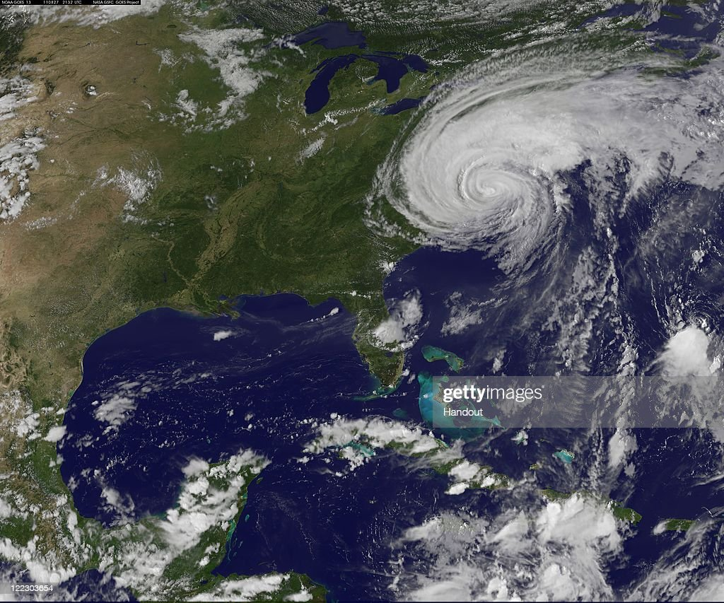 In this handout satellite image provided by NASA, Hurricane Irene churns of the east coast of the United States, August 27, 201, in the Atlantic Ocean. Irene, now a Category 1 storm, has started to lash the eastern coast of the U.S. with wind gust up to 125 miles per hour.