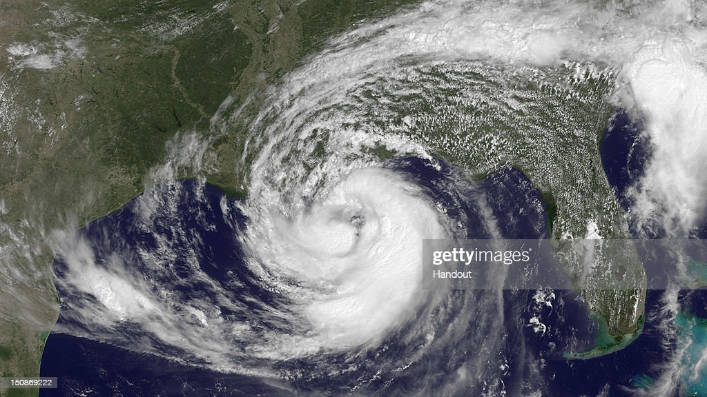 In this handout satellite image provided by National Oceanic and Atmospheric Administration (NOAA), Hurricane Isaac moves toward the Gulf Coast on August 28, 2012 in the Atlantic Ocean. According to reports, Isaac, a Category 1 hurricane, is expected to make landfall on Gulf Coast near New Orleans on August 29, the seven-year anniversary of Hurricane Katrina.