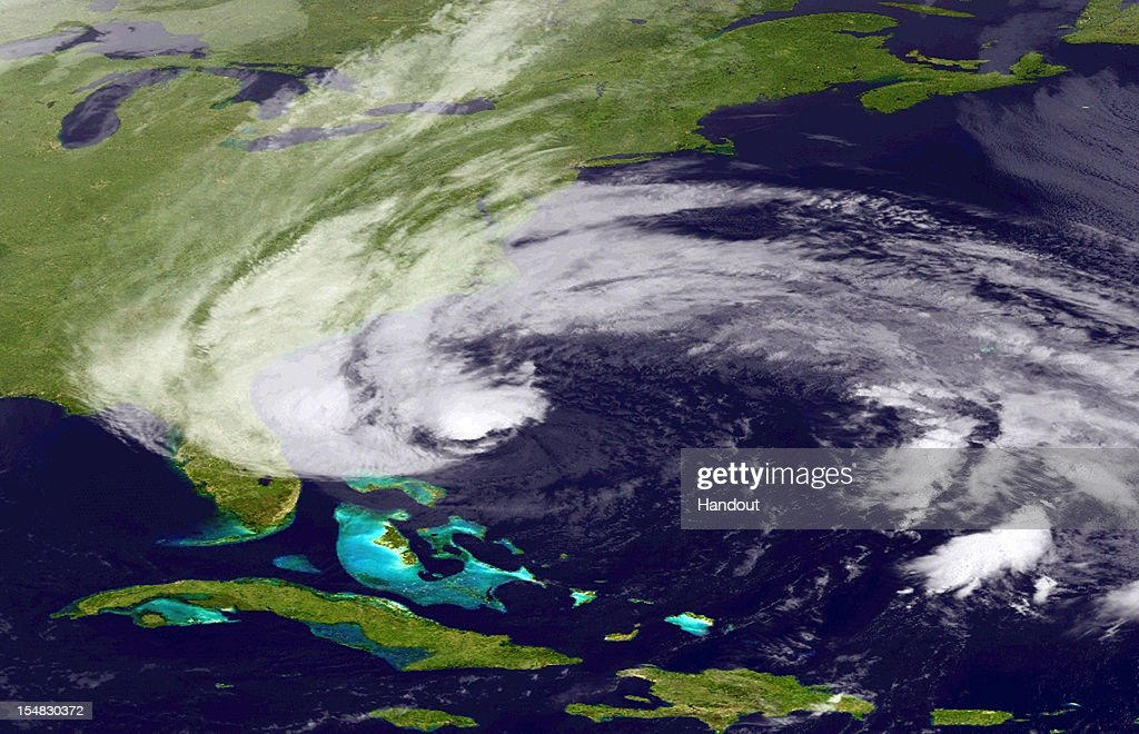 In this handout satellite image provided by National Oceanic and Atmospheric Administration (NOAA), Hurricane Sandy churns off the east coast on October 27, 2012 in the Atlantic Ocean. As states of emergency are declared Sandy is expected to head up the coast this weekend and make a possible landfall anywhere from North Carolina to New England.