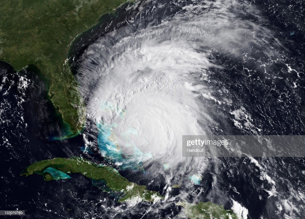 In this handout satellite image provided by the National Oceanic and Atmospheric Administration (NOAA), shows Hurricane Irene on August 25, 2011 in the Caribbean Sea. Irene, now a Category 3 storm with winds of 115 miles per hour, is projected to become Category 4 storm as it moves toward the eastern seaboard of the U.S.