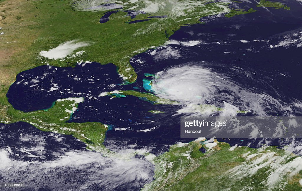 In this handout satellite image provided by the National Oceanic and Atmospheric Administration (NOAA), shows Hurricane Irene on August 24, 2011 in the Caribbean Sea. Irene, now a Category 3 storm with winds of 120 miles per hour, is projected to possibly clip the Outer Banks region of North Carolina before moving up the eastern seaboard of the U.S.
