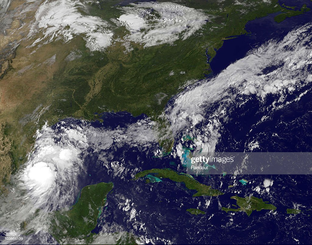 In this handout satellite image provided by the NOAA-NASA GOES Project, Tropical Storm Hermine churns in the Gulf of Mexico off the coast of Texas September 6, 2010 as seen from space. A tropical storm warning is issued for the south Texas coast due to maximum sustained winds near 40 mph (65 kph) with the storm expected to grow stronger before it hits land.
