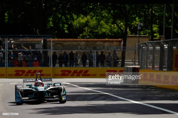 In this handout supplied by Jaguar Racing Mitch Evans Jaguar Racing SparkJaguar Jaguar IType 1 during the Paris ePrix sixth round of the 2016/17 FIA...
