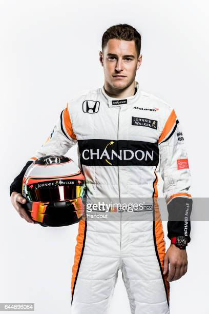 In this handout supplied by McLaren F1 Stoffel Vandoorne of Belgium attends the launch of the new McLaren Formula One car for the 2017 season the...