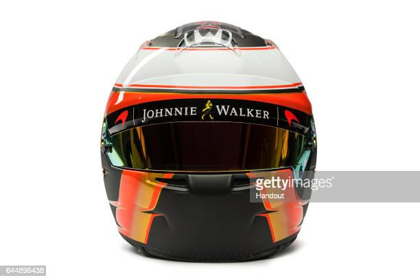 In this handout supplied by McLaren F1 the drivers helmet of Stoffel Vandoorne of Belgium seen at the launch of the new McLaren Formula One car for...