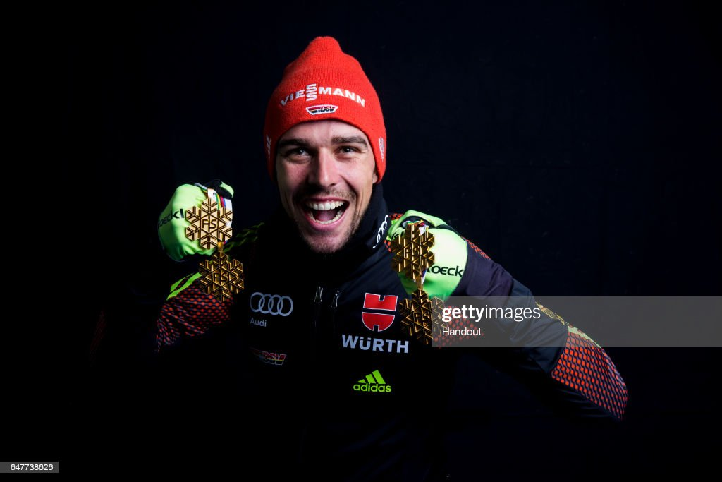 In this handout supplied by NordicFocus, Johannes Rydzek of Germany poses with the four gold medals he won during the FIS Nordic World Ski Championships on March 3, 2017 in Lahti, Finland.