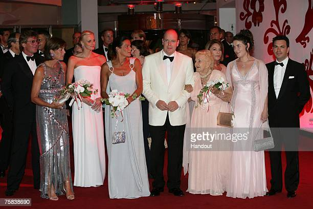 In this handout supplied by Realis/SBM Prince Ernst August and Princess Caroline of Hanover Charlene Wittstock Princess Stephanie of Monaco Prince...