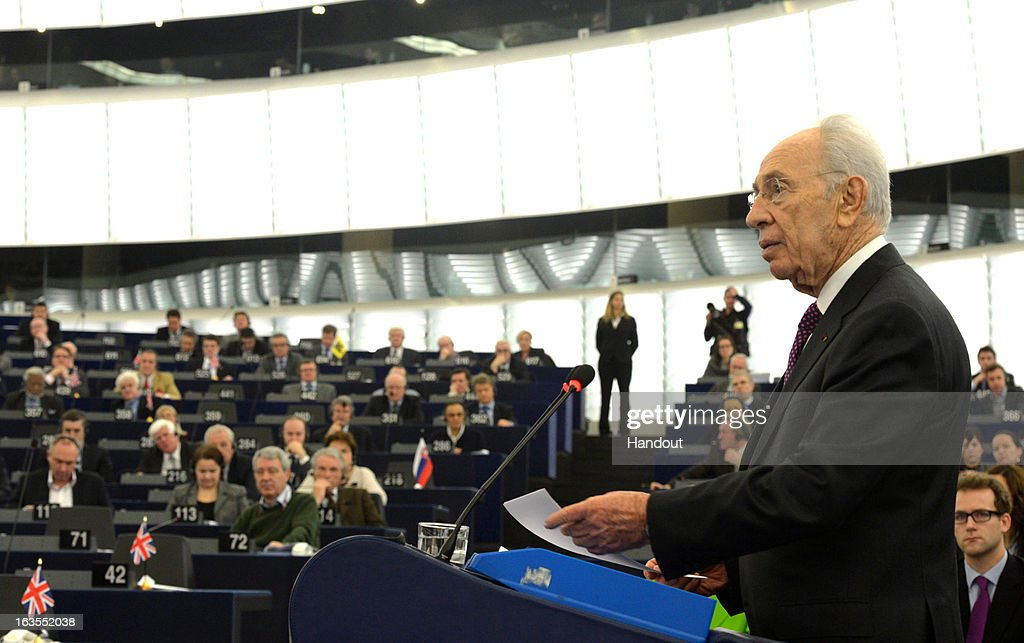 In this handout supplied by the Israeli Government press office (GPO), Israeli President Shimon Peres delivers an address to the European Parliament, on March 12, 2013 in Strasbourg, France. Peres has been travelling between Brussels, Paris and Strasbourg to meet with leaders and address the European Parliament, a first for an Israeli leader.