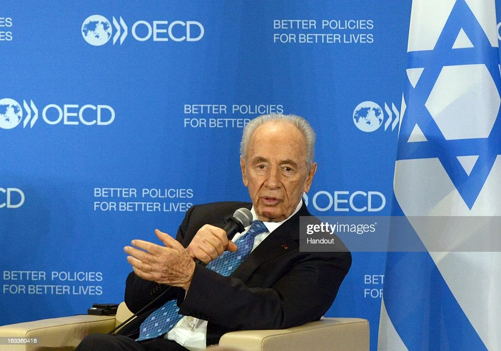 In this handout supplied by the the Israeli Government press office (GPO), Israeli President Shimon Peres speaks at the OECD on March 8, 2013 in Paris, France. Peres is traveling to Brussels, Paris and Strasbourg where he will address the European Parliament, a first for an Israeli leader.