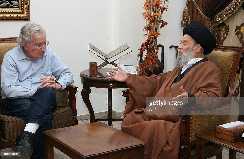 In this image made available by the press offfice of Shiite Muslim Grand Ayatollah Sayyed Mohammed Hussein Fadlallah on May 27, 2010, Fadallah (R) meets with Noam Chomsky, a leading American intellectual highly critical of Israel's policies toward the Palestinians, at his office in Beirut's suburbs. Chomsky, who was barred from the Isreali occupied West Bank by Israel on May 18, had to deliver a lecture to Palestinian students by video link from Jordan.