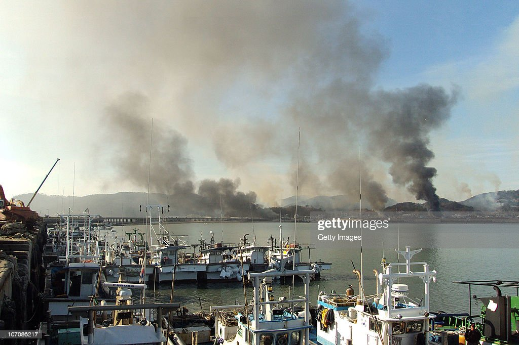 In this image provided by a local resident Smoke rises from South Korea's Yeonpyeong island near the border against North Korea on November 23 2010...