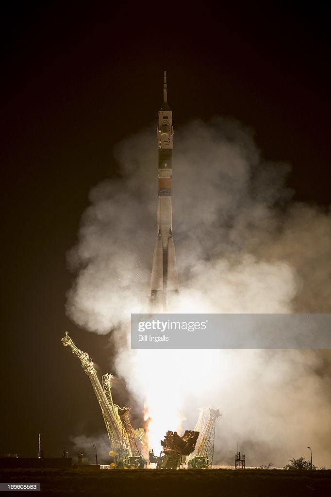 In this image provided by NASA, A Soyuz rocket with Expedition 36/37 Soyuz Commander Fyodor Yurchikhin of the Russian Federal Space Agency (Roscosmos), Flight Engineers: Luca Parmitano of the European Space Agency and Karen Nyberg of NASA launches from the Baikonur Cosmodrome in Kazakhstan to the International Space Station, on May 29, 2013 in Baikonur, Kazakhstan. Yurchikhin, Nyberg, and, Parmitano, will remain aboard the station until mid-November.