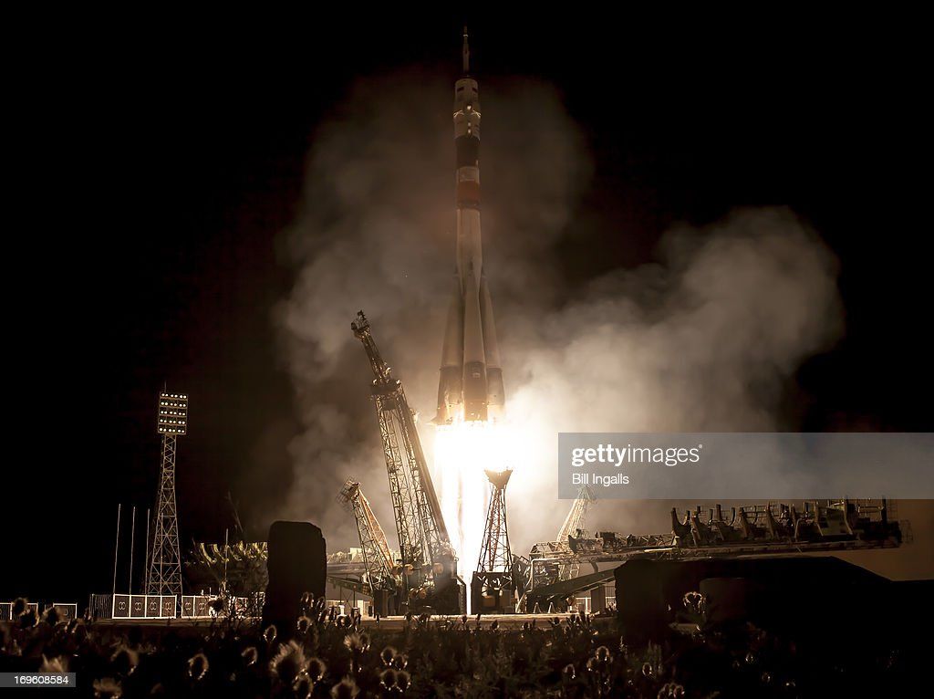 In this image provided by NASA A Soyuz rocket with Expedition 36/37 Soyuz Commander Fyodor Yurchikhin of the Russian Federal Space Agency Flight...
