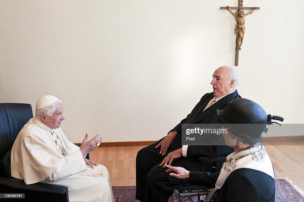 In this image provided by the German press office Pope Benedict XVI talks with former German Chancellor Helmut Kohl and his wife Maike KohlRichter...