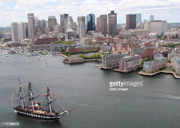 In this image provided by the US Navy the USS Constitution sails into Boston Harbor during an underway Battle of Midway commemoration on June 3 2011...
