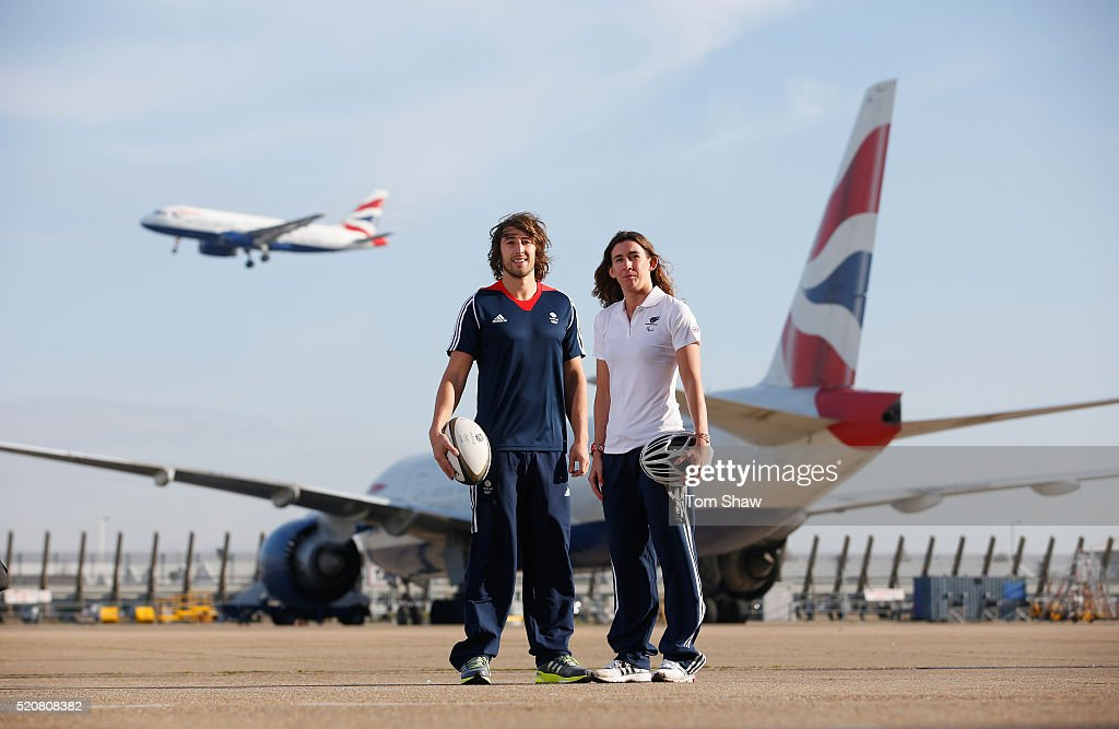 In this image released by British Airways on April 13, Dan Bibby of Team GB Rugby Sevens (Left) and para-triathlete <a gi-track='captionPersonalityLinkClicked' href=/galleries/search?phrase=Melissa+Reid&family=editorial&specificpeople=807482 ng-click='$event.stopPropagation()'>Melissa Reid</a> of Paralympics GB pose in front of a British Airways aeroplane during a media event to mark the appointment of British Airways as the official airline of Team GB and ParalympicsGB ahead of the 2016 Summer Olympic Games in Rio de Janeiro, at Heathrow Airport in London, England. Rugby Sevens and Para Triathlon will be new Olympic sports in Rio.