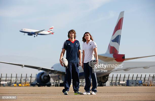 In this image released by British Airways on April 13 Dan Bibby of Team GB Rugby Sevens and paratriathlete Melissa Reid of Paralympics GB pose in...