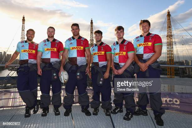 In this image released by DHL on September 12 2017 Chris RobshawJames Chisholm James Horwill Max Coyle George Head and Charlie Matthews of Harlequins...
