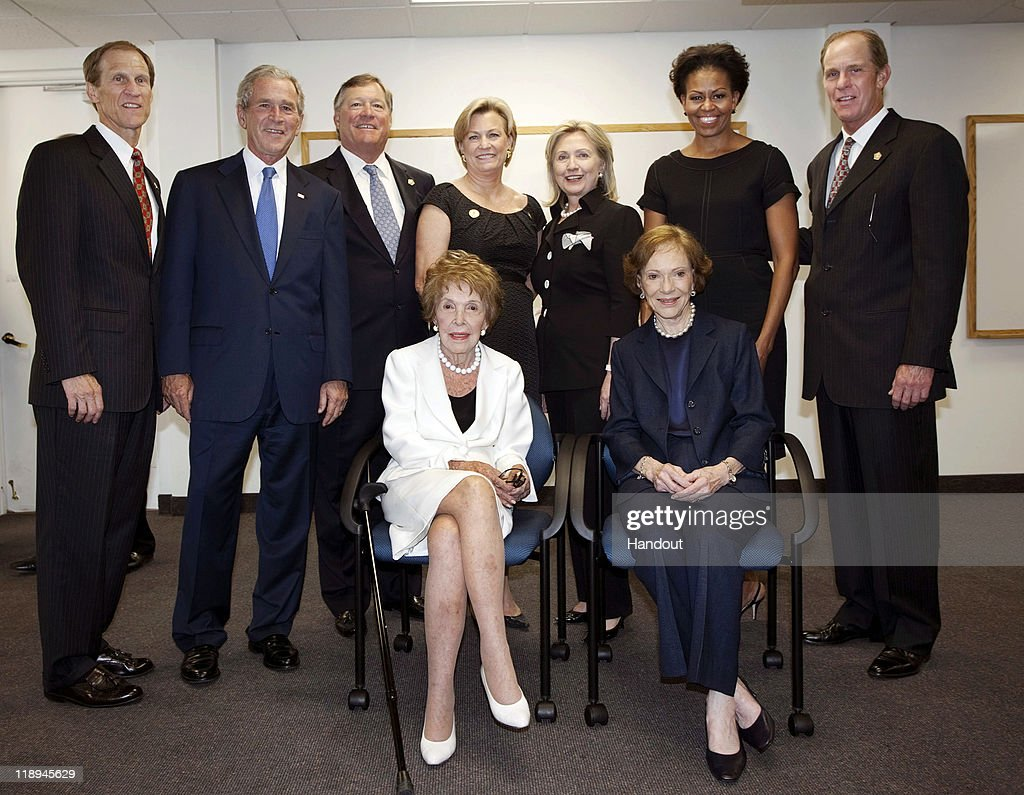 In this image released by the Gerald R Ford Library and Museum Mike Ford former President George W Bush Jack Ford Susan Ford Bales former first lady...
