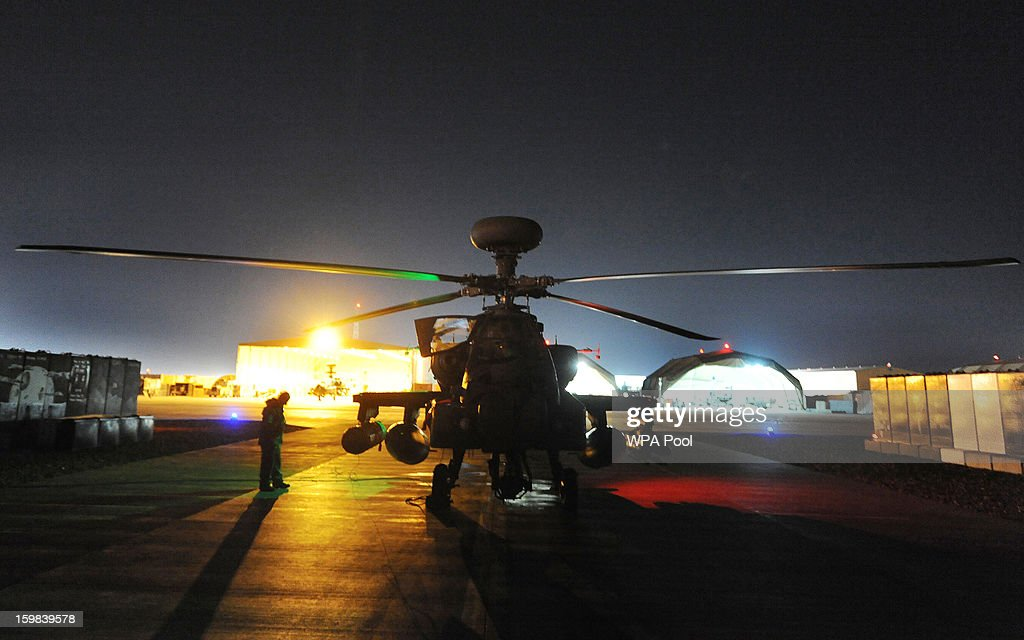 In this image released on January 21 the Apache helicopter copiloted by Prince Harry stands before lift off on a night mission from Camp Bastion on...