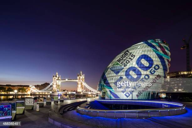 In this image released on May 6 City Hall in London is turned into a giant rugby ball through light projection onto the building to mark 500 Days to...