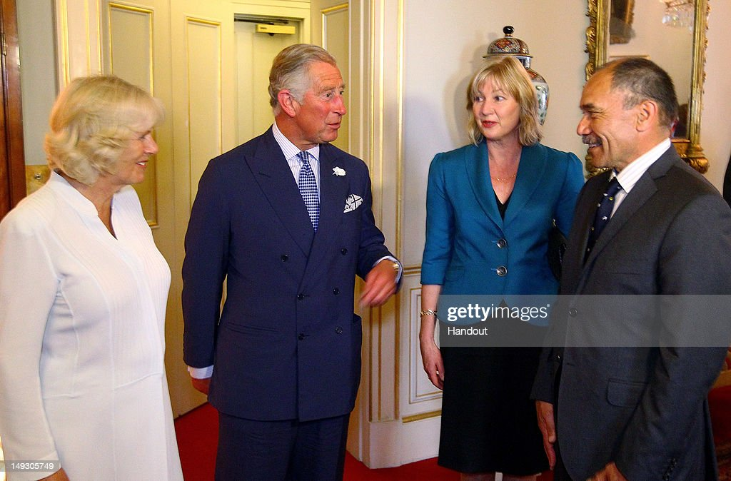 In this image supplied by New Zealand High Commission, Governor General of New Zealand Sir Jerry Mateparae (R) and Lady Mateparae meet <a gi-track='captionPersonalityLinkClicked' href=/galleries/search?phrase=Prince+Charles&family=editorial&specificpeople=160180 ng-click='$event.stopPropagation()'>Prince Charles</a>, Prince of Wales and <a gi-track='captionPersonalityLinkClicked' href=/galleries/search?phrase=Camilla+-+Duchess+of+Cornwall&family=editorial&specificpeople=158157 ng-click='$event.stopPropagation()'>Camilla</a>, Duchess of Cornwall (L) for a private audience at Clarence House, prior to the start of the London 2012 Olympic Games, on July 27, 2012 in London, England.