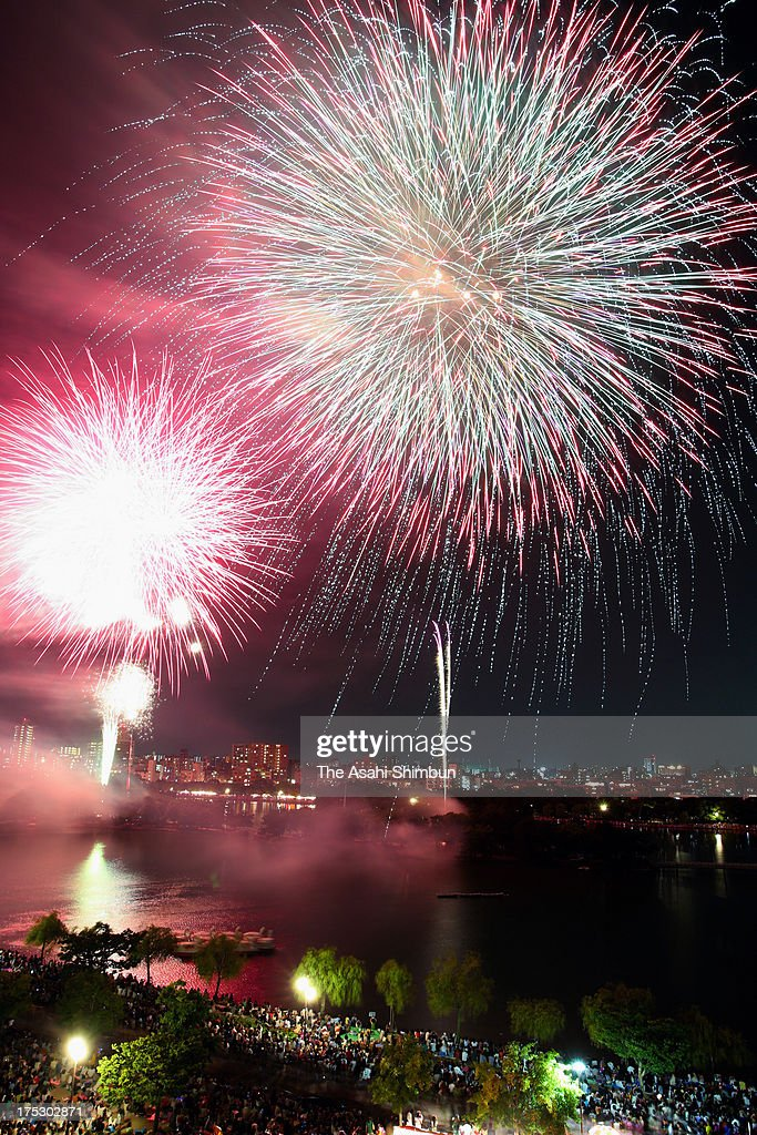 In this long exposure image, fireworks explode during the Ohori Park Fireworks Festival on August 1, 2013 in Fukuoka, Japan.