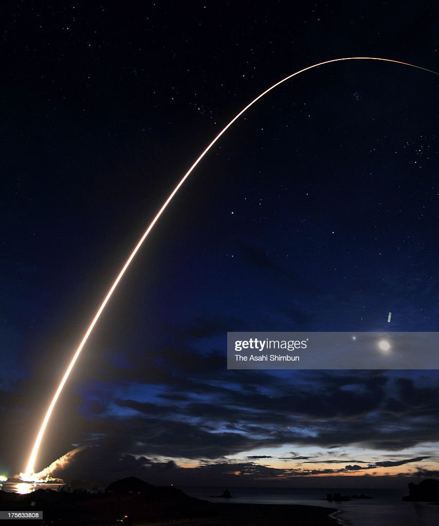 In this long exposure image, the H-IIB rocket of the Japan Aerospace Exploration Agency (JAXA) lifts off from the launch pad at JAXA's Tanegashima Space Center on August 4, 2013 in Minamitane, Kagoshima, Japan. The launch vehicle carries a cargo transpoter to the International Space Station 'Konotori (HTV4)' along with a Humanoid robot Kirobo, which will be a companion for Japanese astronaut at the ISS.