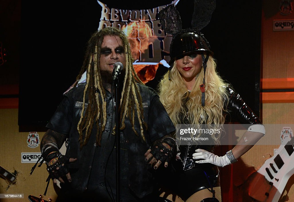 In this Moment Chris Howrth and Maria Brink on stage at the 5th Annual Revolver Golden Gods Award Show at Club Nokia on May 2, 2013 in Los Angeles, California.