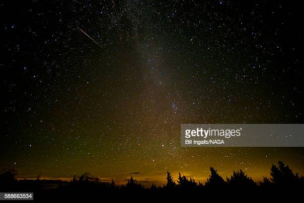 In this NASA handout a 30 second exposure of a meteor streaks across the sky during the annual Perseid meteor shower August 12 2016 in Spruce Knob...