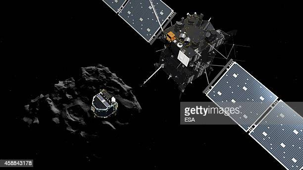 In this November 12 2014 handout photo illustration provided by the European Space Agency the Philae lander is pictured descending onto the...