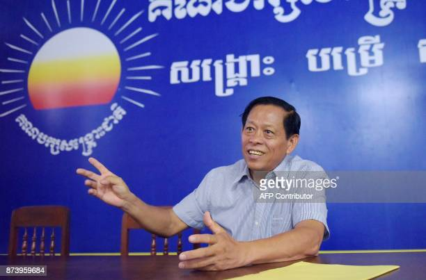 In this October 17 2017 photograph Lim Kimya a member of the National Assembly from Cambodia National Rescue Party speaks during an interview with...