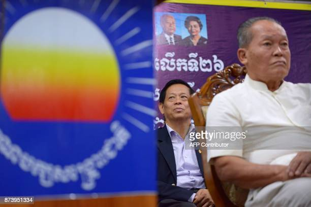 In this October 23 2017 photograph Lim Kimya a member of the National Assembly from Cambodia National Rescue Party listens during a ceremony at his...