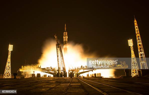 In this one second exposure photograph the Soyuz MS03 spacecraft is seen launching from the Baikonur Cosmodrome with Expedition 50 crewmembers NASA...