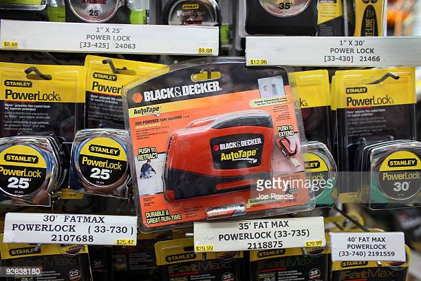 In this photo illustration a Black Decker tape measure is seen with Stanley tape measures at Shell Lumber and Hardware on November 3 2009 in Miami...
