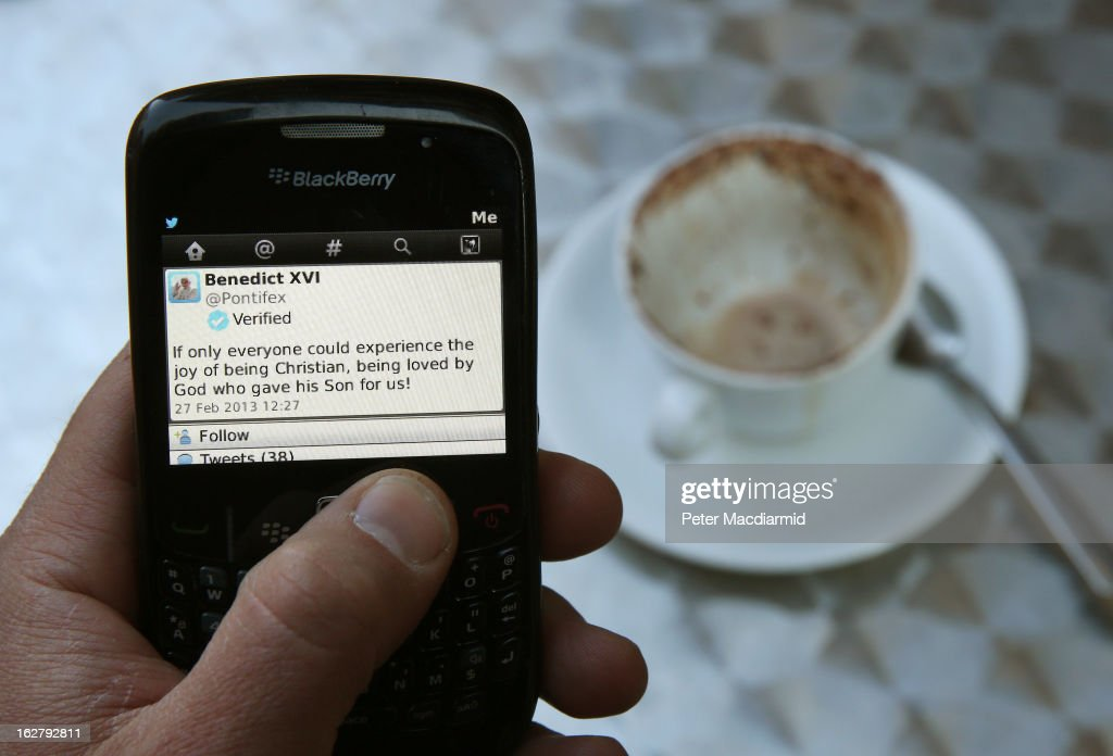In this photo illustration a Blackberry mobile phone displays Pope Benedict's last Papal Tweet on February 27, 2013 in Rome, Italy. The Pontiff has attended his last weekly public audience before stepping down tomorrow. Pope Benedict XVI has been the leader of the Catholic Church for eight years and is the first Pope to retire since 1415. He cites ailing health as his reason for retirement and will spend the rest of his life in solitude away from public engagements.