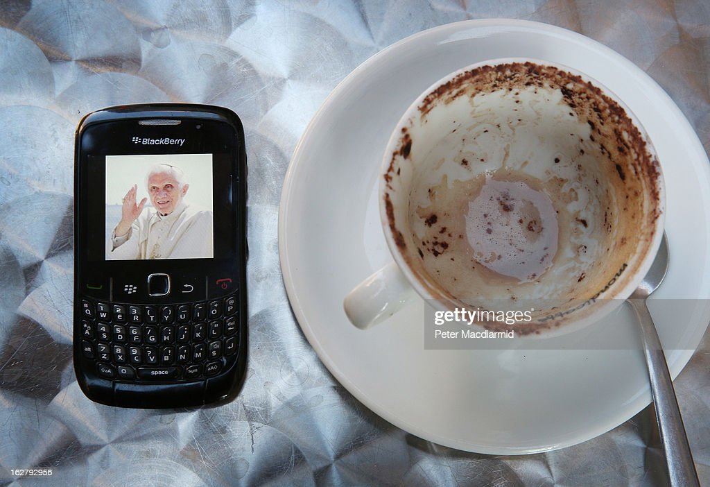 In this photo illustration a Blackberry mobile phone displays Pope Benedict's Twitter identity photograph on his last ever Papal Tweet on February 27, 2013 in Rome, Italy. The Pontiff has attended his last weekly public audience before stepping down tomorrow. Pope Benedict XVI has been the leader of the Catholic Church for eight years and is the first Pope to retire since 1415. He cites ailing health as his reason for retirement and will spend the rest of his life in solitude away from public engagements.