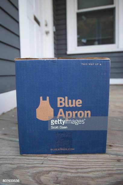 In this photo illustration a Blue Apron box sits on the porch of a house on June 28 2017 in Boston Massachusetts The online mealkit delivery company...