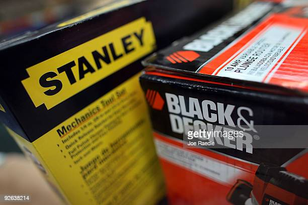 In this photo illustration a box containing a Black Decker tool is seen with a Stanley tool at Shell Lumber and Hardware on November 3 2009 in Miami...