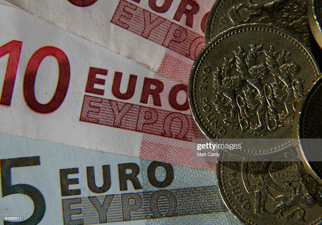 In this photo illustration a British Pound coin is seen next to Euro notes on December 17 2008 in Bristol, England. The British Pound is currently at its lowest value ever against the Euro, trading below 1.10 Euros this morning, after it was revealed that the Bank of England considered a bigger interest rate cut than the one delivered two weeks ago.