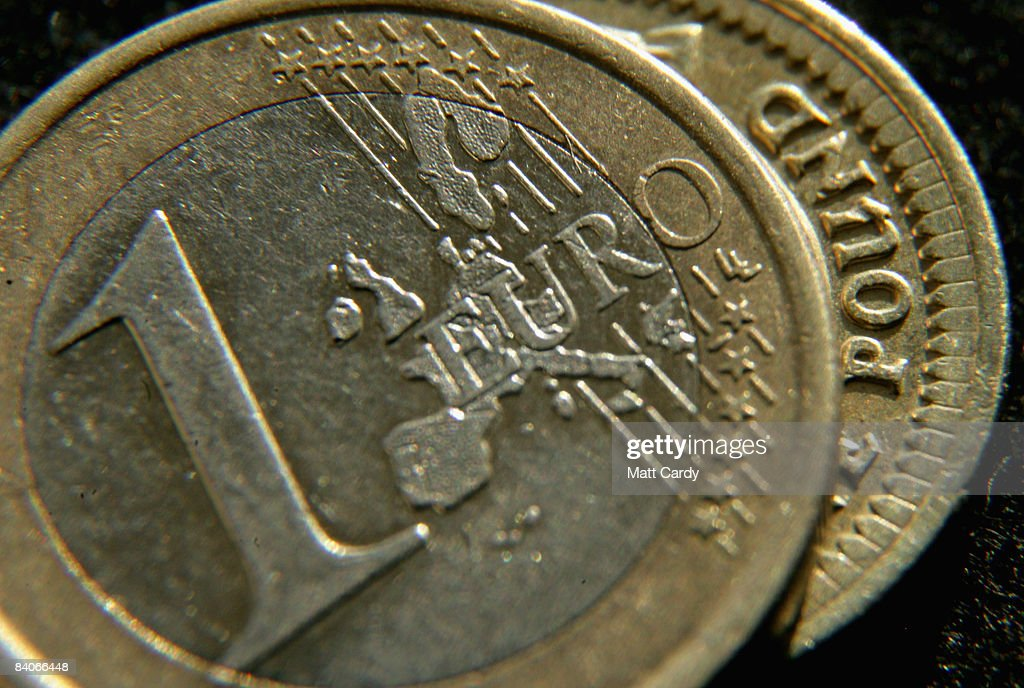 In this photo illustration, a British Pound coin lies under a Euro coin on December 17, 2008 in Bristol, England. The British Pound is currently at its lowest value ever against the Euro, trading below 1.10 Euros this morning, after it was revealed that the Bank of England considered a bigger interest rate than the one delivered two weeks ago.