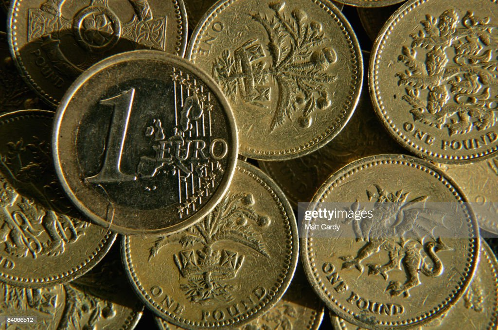 In this photo illustration a British Pound coins are seen below a Euro coin on December 17 2008 in Bristol, England. The British Pound is currently at its lowest value ever against the Euro, trading below 1.10 Euros this morning, after it was revealed that the Bank of England considered a bigger interest rate cut than the one delivered two weeks ago.