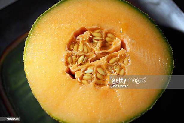 In this photo illustration a cantaloupe is seen sliced open on September 29 2011 in Miami Florida The Centers for Disease Control and Prevention...