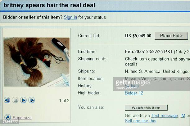 In this photo illustration a computer screen displays a page from online auction site Ebay with the locks of Britney Spears' hair for sale...